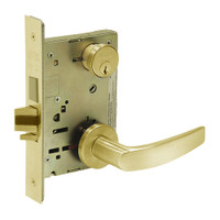 8235-LNB-03 Sargent 8200 Series Storeroom Mortise Lock with LNB Lever Trim and Deadbolt in Bright Brass