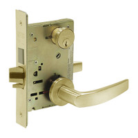 8243-LNB-04 Sargent 8200 Series Apartment Corridor Mortise Lock with LNB Lever Trim and Deadbolt in Satin Brass