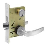 8251-LNB-26 Sargent 8200 Series Storeroom Deadbolt Mortise Lock with LNB Lever Trim and Deadbolt in Bright Chrome