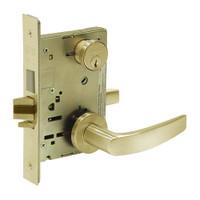 8251-LNB-04 Sargent 8200 Series Storeroom Deadbolt Mortise Lock with LNB Lever Trim and Deadbolt in Satin Brass