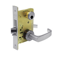 LC-8227-LNL-26D Sargent 8200 Series Closet or Storeroom Mortise Lock with LNL Lever Trim and Deadbolt in Satin Chrome