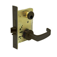 LC-8235-LNL-10B Sargent 8200 Series Storeroom Mortise Lock with LNL Lever Trim and Deadbolt in Oxidized Dull Bronze