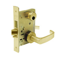 LC-8243-LNL-03 Sargent 8200 Series Apartment Corridor Mortise Lock with LNL Lever Trim and Deadbolt in Bright Brass