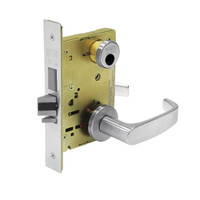 LC-8245-LNL-26 Sargent 8200 Series Dormitory or Exit Mortise Lock with LNL Lever Trim and Deadbolt in Bright Chrome