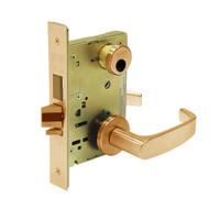 LC-8251-LNL-10 Sargent 8200 Series Storeroom Deadbolt Mortise Lock with LNL Lever Trim and Deadbolt in Dull Bronze