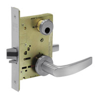 LC-8255-LNB-26D Sargent 8200 Series Office or Entry Mortise Lock with LNB Lever Trim Less Cylinder in Satin Chrome