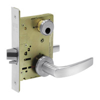 LC-8255-LNB-26 Sargent 8200 Series Office or Entry Mortise Lock with LNB Lever Trim Less Cylinder in Bright Chrome