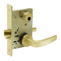LC-8255-LNB-03 Sargent 8200 Series Office or Entry Mortise Lock with LNB Lever Trim Less Cylinder in Bright Brass