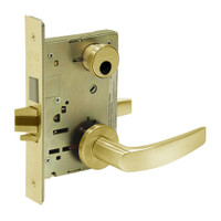 LC-8224-LNB-03 Sargent 8200 Series Room Door Mortise Lock with LNB Lever Trim and Deadbolt in Bright Brass