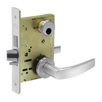 LC-8227-LNB-26 Sargent 8200 Series Closet or Storeroom Mortise Lock with LNB Lever Trim and Deadbolt in Bright Chrome