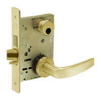 LC-8235-LNB-03 Sargent 8200 Series Storeroom Mortise Lock with LNB Lever Trim and Deadbolt in Bright Brass