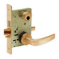 LC-8245-LNB-10 Sargent 8200 Series Dormitory or Exit Mortise Lock with LNB Lever Trim and Deadbolt in Dull Bronze