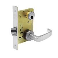 LC-8204-LNP-26 Sargent 8200 Series Storeroom or Closet Mortise Lock with LNP Lever Trim Less Cylinder in Bright Chrome