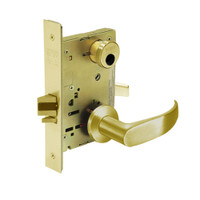 LC-8255-LNP-03 Sargent 8200 Series Office or Entry Mortise Lock with LNP Lever Trim Less Cylinder in Bright Brass