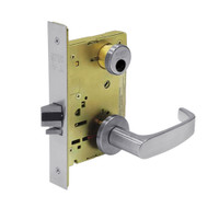 LC-8267-LNP-26D Sargent 8200 Series Institutional Privacy Mortise Lock with LNP Lever Trim Less Cylinder in Satin Chrome