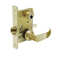 LC-8256-LNP-04 Sargent 8200 Series Office or Inner Entry Mortise Lock with LNP Lever Trim Less Cylinder in Satin Brass