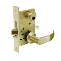 LC-8224-LNP-04 Sargent 8200 Series Room Door Mortise Lock with LNP Lever Trim and Deadbolt in Satin Brass