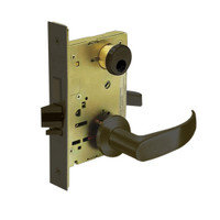 LC-8225-LNP-10B Sargent 8200 Series Dormitory or Exit Mortise Lock with LNP Lever Trim and Deadbolt in Oxidized Dull Bronze