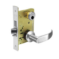 LC-8235-LNP-26 Sargent 8200 Series Storeroom Mortise Lock with LNP Lever Trim and Deadbolt in Bright Chrome