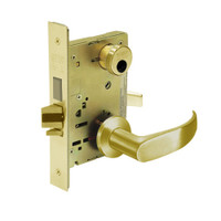 LC-8243-LNP-03 Sargent 8200 Series Apartment Corridor Mortise Lock with LNP Lever Trim and Deadbolt in Bright Brass