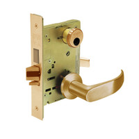 LC-8245-LNP-10 Sargent 8200 Series Dormitory or Exit Mortise Lock with LNP Lever Trim and Deadbolt in Dull Bronze