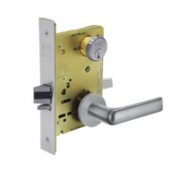 8267-LNE-26D Sargent 8200 Series Institutional Privacy Mortise Lock with LNE Lever Trim in Satin Chrome