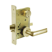8267-LNE-04 Sargent 8200 Series Institutional Privacy Mortise Lock with LNE Lever Trim in Satin Brass