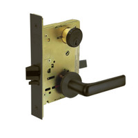 8267-LNE-10B Sargent 8200 Series Institutional Privacy Mortise Lock with LNE Lever Trim in Oxidized Dull Bronze