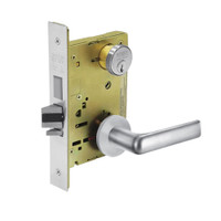 8235-LNE-26 Sargent 8200 Series Storeroom Mortise Lock with LNE Lever Trim and Deadbolt in Bright Chrome
