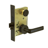 8235-LNE-10B Sargent 8200 Series Storeroom Mortise Lock with LNE Lever Trim and Deadbolt in Oxidized Dull Bronze