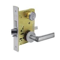 8243-LNE-26D Sargent 8200 Series Apartment Corridor Mortise Lock with LNE Lever Trim and Deadbolt in Satin Chrome
