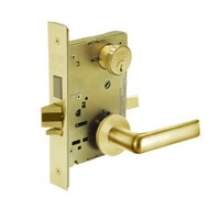 8243-LNE-03 Sargent 8200 Series Apartment Corridor Mortise Lock with LNE Lever Trim and Deadbolt in Bright Brass