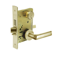 8243-LNE-04 Sargent 8200 Series Apartment Corridor Mortise Lock with LNE Lever Trim and Deadbolt in Satin Brass