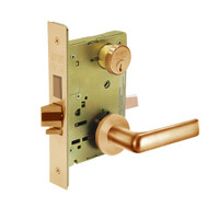 8243-LNE-10 Sargent 8200 Series Apartment Corridor Mortise Lock with LNE Lever Trim and Deadbolt in Dull Bronze