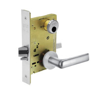 LC-8204-LNE-26 Sargent 8200 Series Storeroom or Closet Mortise Lock with LNE Lever Trim Less Cylinder in Bright Chrome