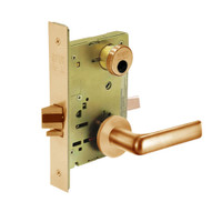 LC-8205-LNE-10 Sargent 8200 Series Office or Entry Mortise Lock with LNE Lever Trim Less Cylinder in Dull Bronze