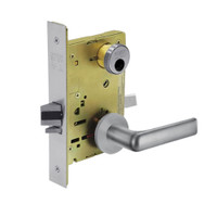 LC-8255-LNE-26D Sargent 8200 Series Office or Entry Mortise Lock with LNE Lever Trim Less Cylinder in Satin Chrome