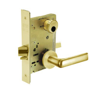 LC-8256-LNE-03 Sargent 8200 Series Office or Inner Entry Mortise Lock with LNE Lever Trim Less Cylinder in Bright Brass