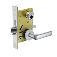 LC-8225-LNE-26 Sargent 8200 Series Dormitory or Exit Mortise Lock with LNE Lever Trim and Deadbolt Less Cylinder in Bright Chrome