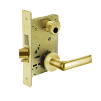 LC-8235-LNE-03 Sargent 8200 Series Storeroom Mortise Lock with LNE Lever Trim and Deadbolt Less Cylinder in Bright Brass