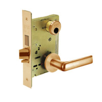 LC-8235-LNE-10 Sargent 8200 Series Storeroom Mortise Lock with LNE Lever Trim and Deadbolt Less Cylinder in Dull Bronze