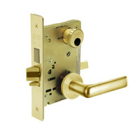 LC-8241-LNE-03 Sargent 8200 Series Classroom Security Mortise Lock with LNE Lever Trim Less Cylinder in Bright Brass