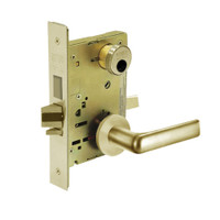 LC-8241-LNE-04 Sargent 8200 Series Classroom Security Mortise Lock with LNE Lever Trim Less Cylinder in Satin Brass