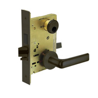 LC-8246-LNE-10B Sargent 8200 Series Dormitory or Exit Mortise Lock with LNE Lever Trim Less Cylinder in Oxidized Dull Bronze