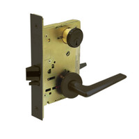 8267-LNF-10B Sargent 8200 Series Institutional Privacy Mortise Lock with LNF Lever Trim in Oxidized Dull Bronze
