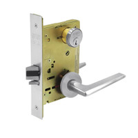 8289-LNF-26 Sargent 8200 Series Holdback Mortise Lock with LNF Lever Trim in Bright Chrome