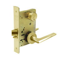 8289-LNF-03 Sargent 8200 Series Holdback Mortise Lock with LNF Lever Trim in Bright Brass