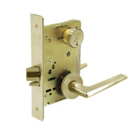 8289-LNF-04 Sargent 8200 Series Holdback Mortise Lock with LNF Lever Trim in Satin Brass