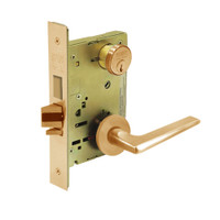 8235-LNF-10 Sargent 8200 Series Storeroom Mortise Lock with LNF Lever Trim and Deadbolt in Dull Bronze