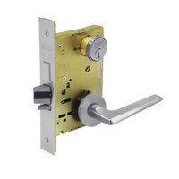 8243-LNF-26D Sargent 8200 Series Apartment Corridor Mortise Lock with LNF Lever Trim and Deadbolt in Satin Chrome